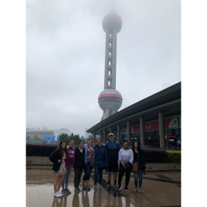 Student group outside Oriental Pearl Tower, Shanghai