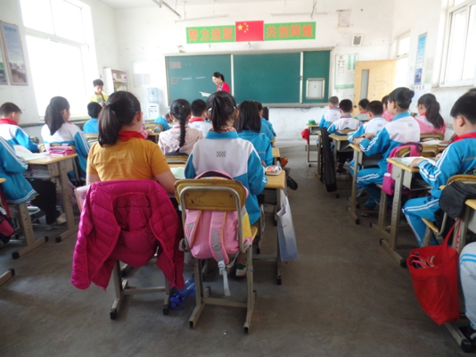 Students sitting in a classroom in China