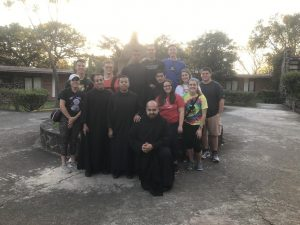 Group Picture of students and monks as part of Study Abroad Mexico