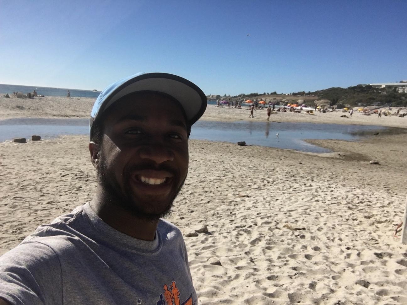 Floyd Nichols on beach in Cape Town