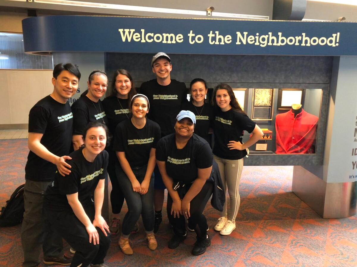 Group of students with faculty at Fred Rogers Center, China trip